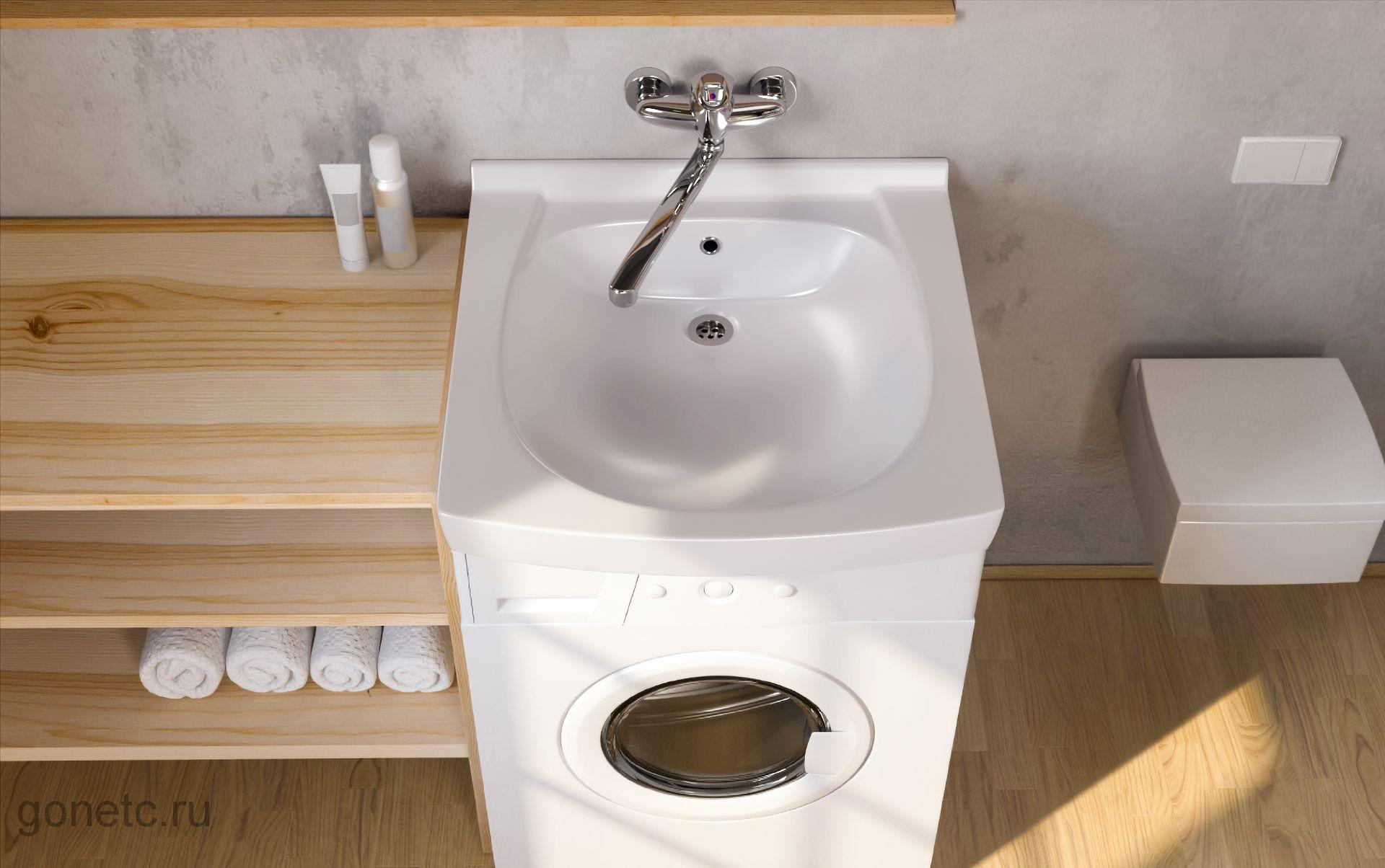 Раковина Кувшинка над стиральной машинкой